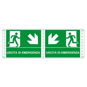 Bifacciali Emergenza simbolo + testo -  Nuova Norma UNI ENI ISO 7010:2012
