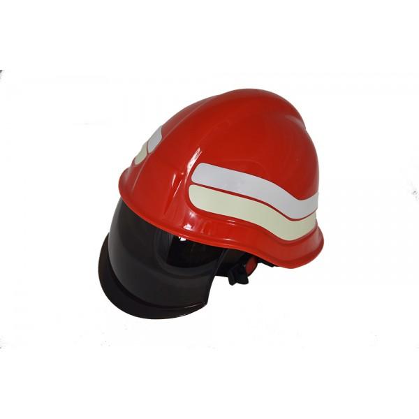 Elmetto per operatore antincendio con visiera retrattile e paranuca in pelle colore rosso