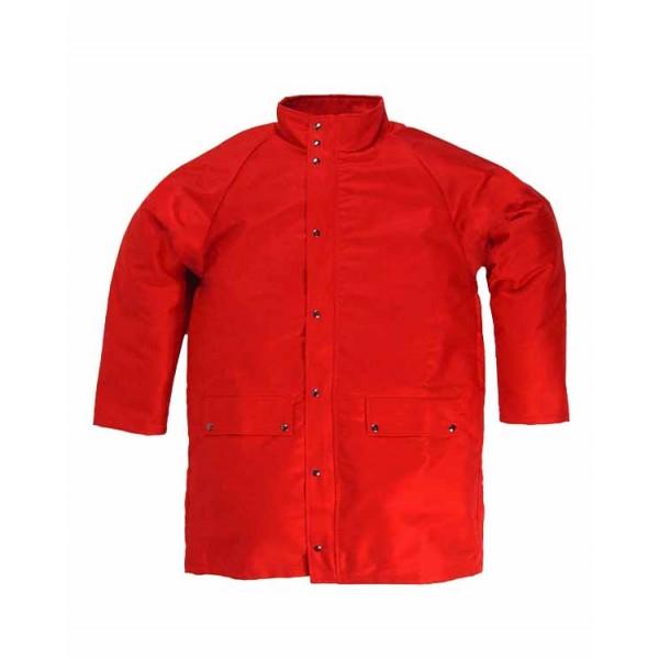 Giaccone tris 1 ce ii categoria uni en iso 11612:2009 tg.1 (46-52 s/m) colore rosso esterno: 100% fr proban 330 g/mq interno: 55% modacrilico 45% cotone 140 g/mq
