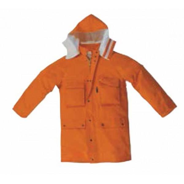 Giaccone tris 1 ce ii categoria uni en iso 11612:2009 tg.1 (46-52 s/m) colore arancione esterno: 100% aramide 260 g/mq interno: 55% modacrilico 45% cotone 140 g/mq con bande rifrangenti a microsfere