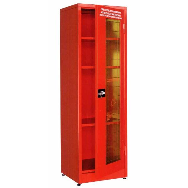Armadio attrezzature antincendio dim. 575x500x1850h 1 anta finestrata + 3 ripiani