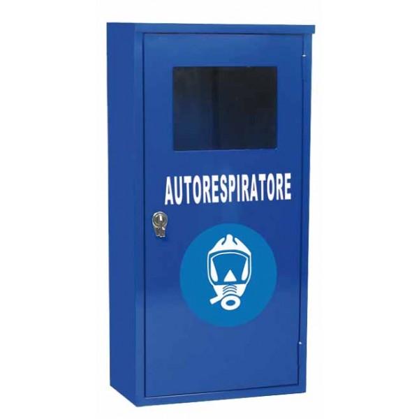 Armadio per autorespiratore dim. 400x300x850h colore blu ral 5010 con simbolo e scritta adesivi