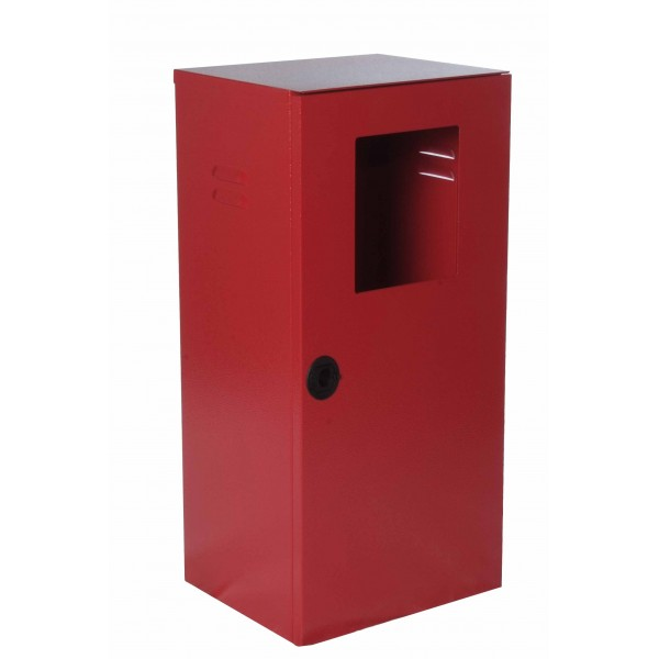 Cassetta p. estintore kg. 5/9/ 12 verniciata rosso ral3000 con portello pieno e finestra di ispezionamento (esclusa cod.9194) con chiusura sigillabile dim.325x270x800h