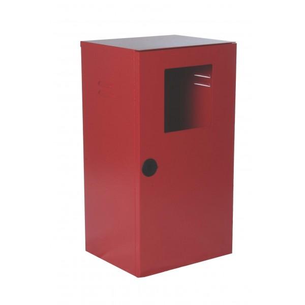 Cassetta p. estintore kg. 6 con portello pieno colore rosso ral3000 bucciato finestra di ispezionamento chiusura con serratura sigillabile dim.325x270x600h