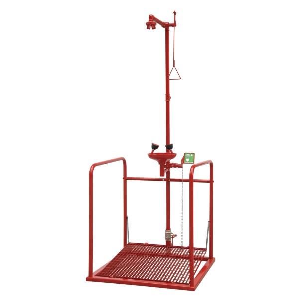 Doccia di emergenza a pedana con vaschetta lavaocchi e pedale colore rosso