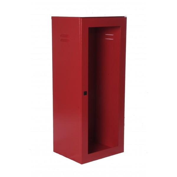 Cassetta p. estintore kg. 5/9/ 12 con portello per lastra safe window (esclusa cod.9461) verniciata rosso ral3000 bucciato con chiusura sigillabile dim.325x270x800h