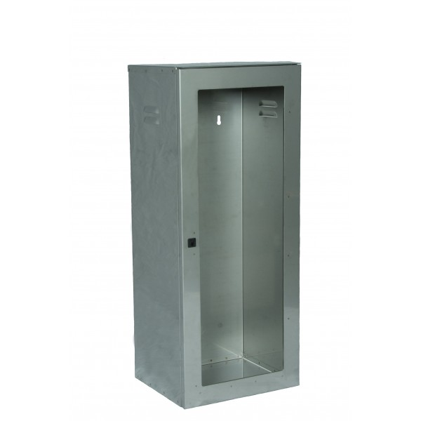 Cassetta p. estintore kg. 5/9/ 12 inox con portello per lastra safe window (esclusa cod.9461) con chiusura sigillabile dim.325x270x800h