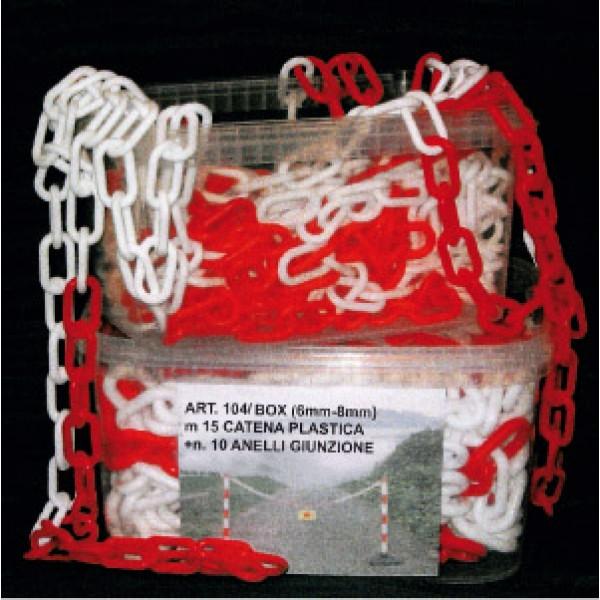 Box catena in moplen bianco/rosso lungh. 15 ml (box104br)