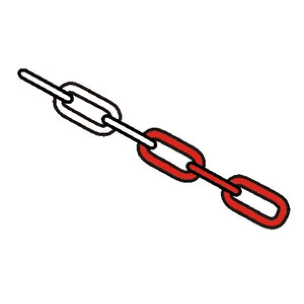 Catena in ferro bianco rosso maglia mm. 38x20x5 (cfz9635)