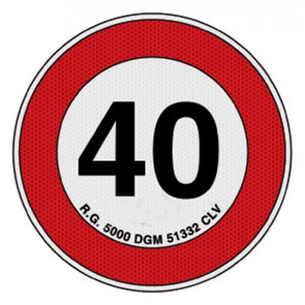 Disco adesivo limite vel. 40 km rifrangente cl 2 diametro mm 200