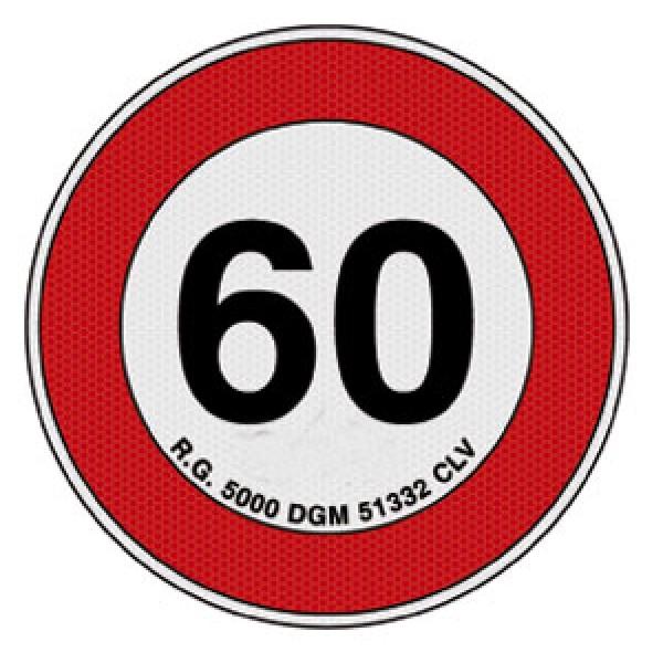 Disco adesivo limite vel. 60 km rifrangente cl 2 diametro mm 200