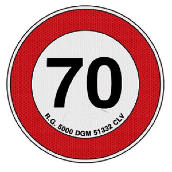 Disco adesivo limite vel. 70 km rifrangente cl 2 diametro mm 200