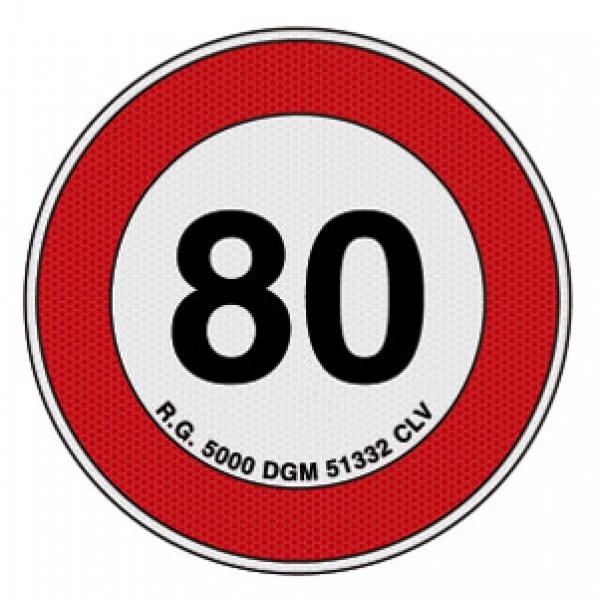 Disco adesivo limite vel. 80 km rifrangente cl 2 diametro mm 200