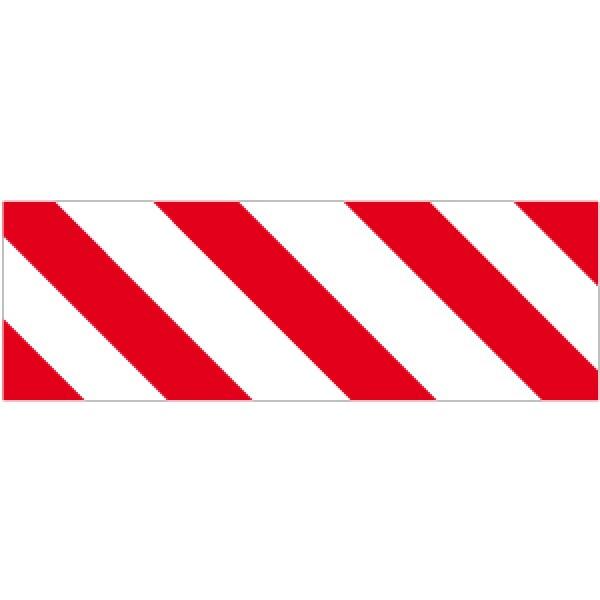 Pellicola autoadesiva rifrangente strisce bianco/rosso sin.mm 450x150