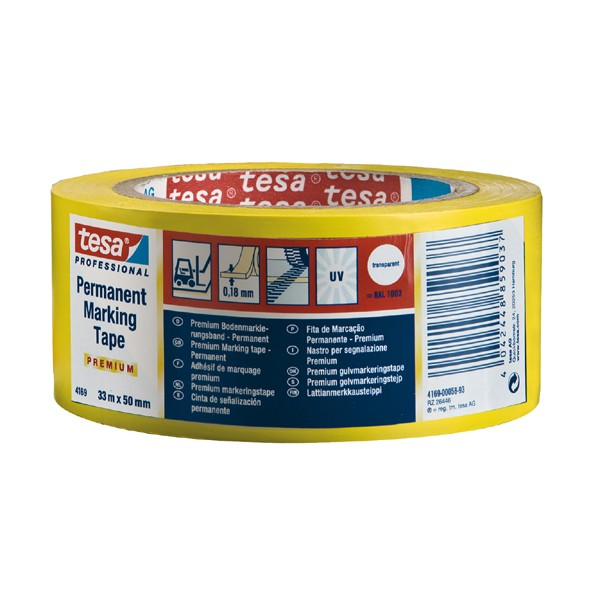 Nastro permanent tape giallo / nero mis. 33x50 mm