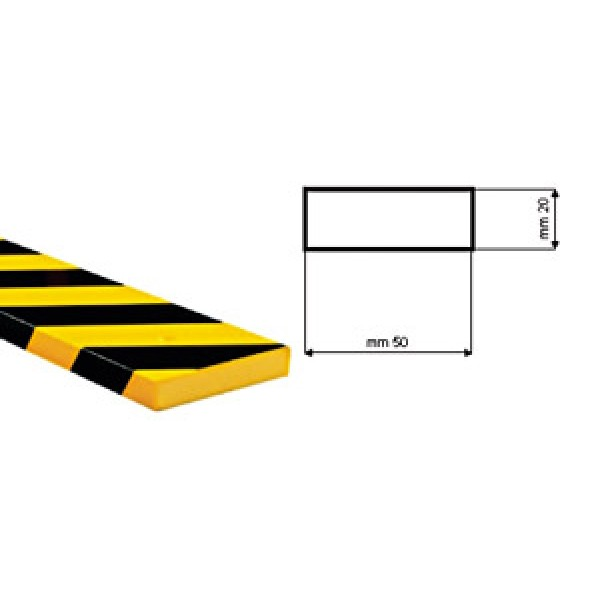 Paracolpi poliuretano tipo d giallo nero c/biadesivo