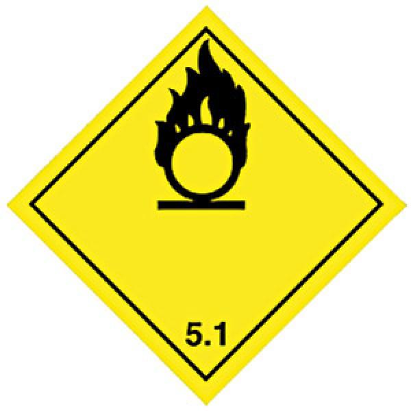 Etichetta autoadesiva formato 100x100 mm comburenti classe 5.1