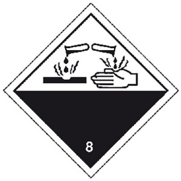 Etichetta autoadesiva formato 100x100 mm corrosivi classe 8