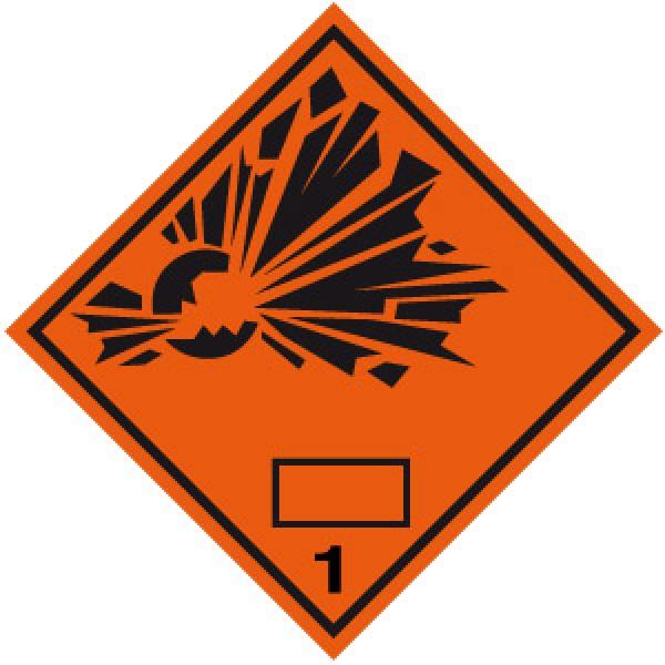 Etichetta autoadesiva formato 100x100 mm esplosivi classe 1