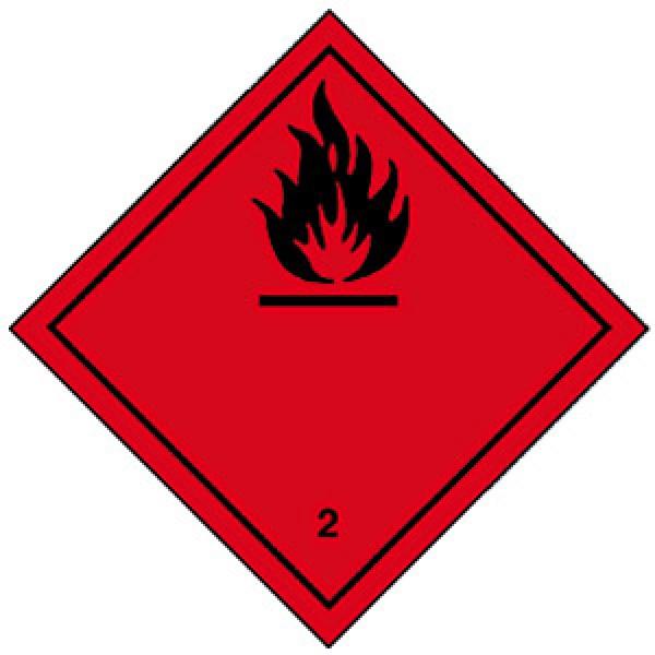 Etichetta autoadesiva formato 100x100 mm gas infiammabili classe 2.1
