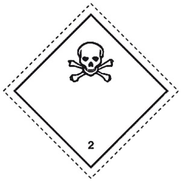 Etichetta autoadesiva formato 100x100 mm gas tossici classe 2.3