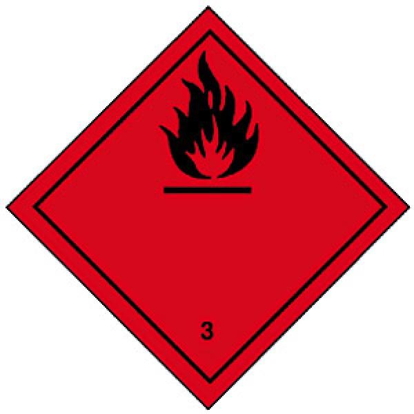 Etichetta autoadesiva formato 100x100 mm liquidi infiammabili classe 3