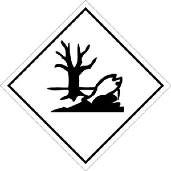Etichetta autoadesiva formato 100x100 mm mat.pericolo amb.acquatico cl.9