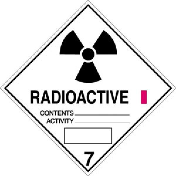 Etichetta autoadesiva formato 100x100 mm materiale radioattivo cl. 7a