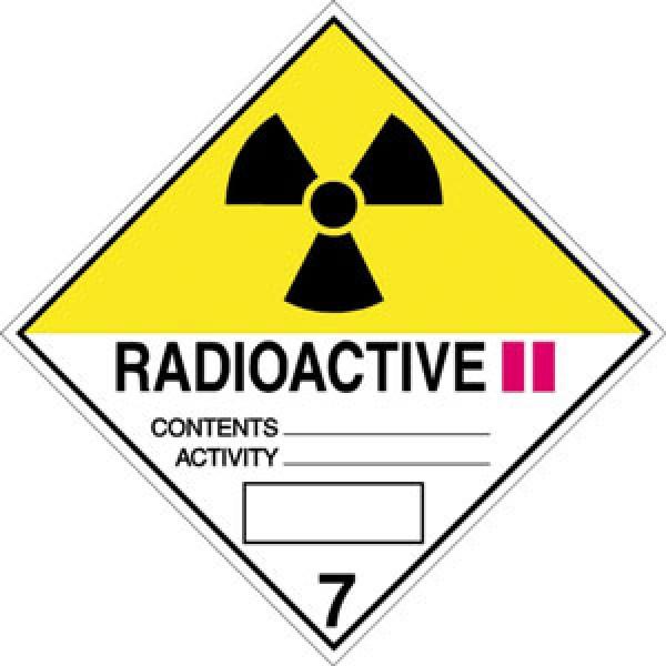Etichetta autoadesiva formato 100x100 mm materiale radioattivo cl. 7b
