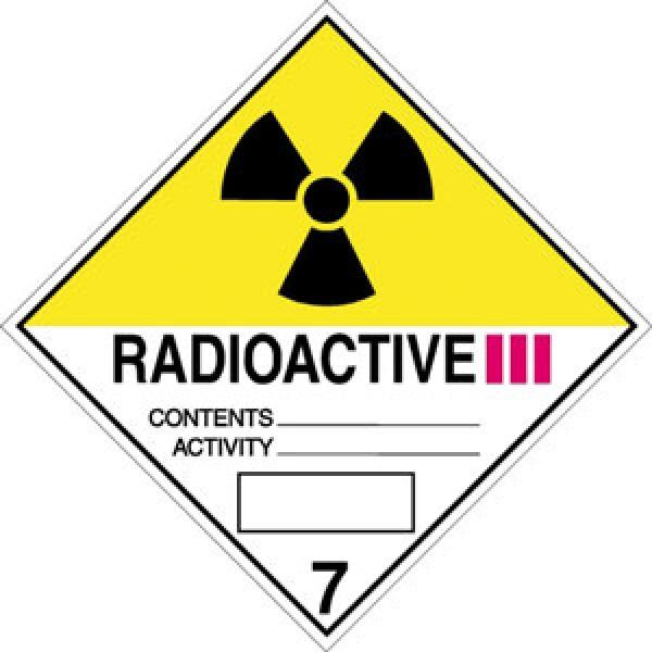 Etichetta autoadesiva formato 100x100 mm materiale radioattivo cl. 7e