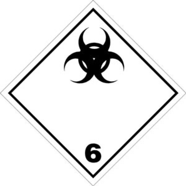 Etichetta autoadesiva formato 100x100 mm rischio biologico classe 6.2