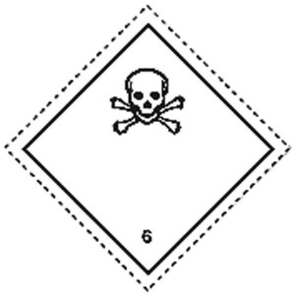 Etichetta autoadesiva formato 100x100 mm sostanze tossiche classe 6.1