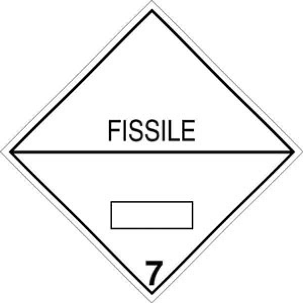 Etichetta autoadesiva formato 300x300 mm fissile classe 7