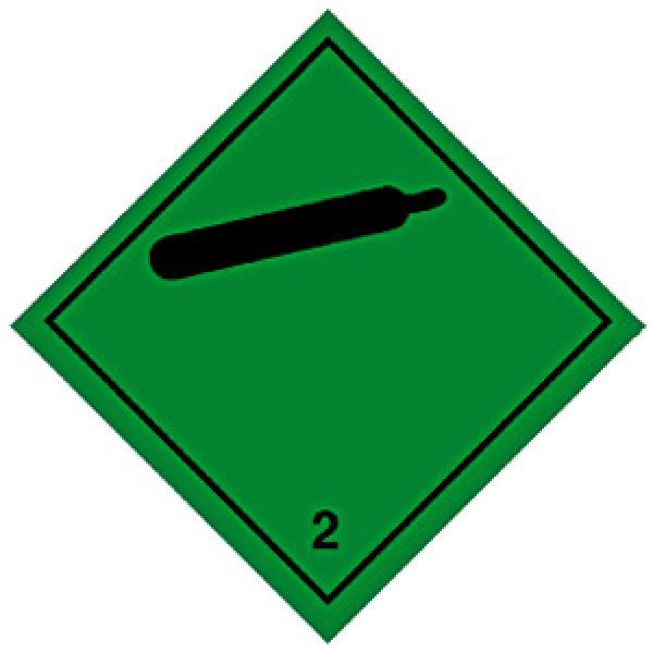 Etichetta autoadesiva formato 300x300 mm gas compressi classe 2.2
