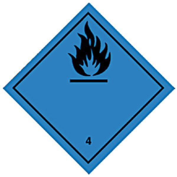 Etichetta autoadesiva formato 300x300 mm infiammabili con acqua cl. 4.3