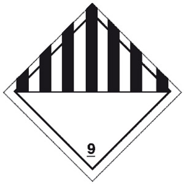 Etichetta autoadesiva formato 300x300 mm pericolo generico classe 9