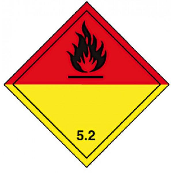 Etichetta autoadesiva formato 300x300 mm perossidi organici classe 5.2