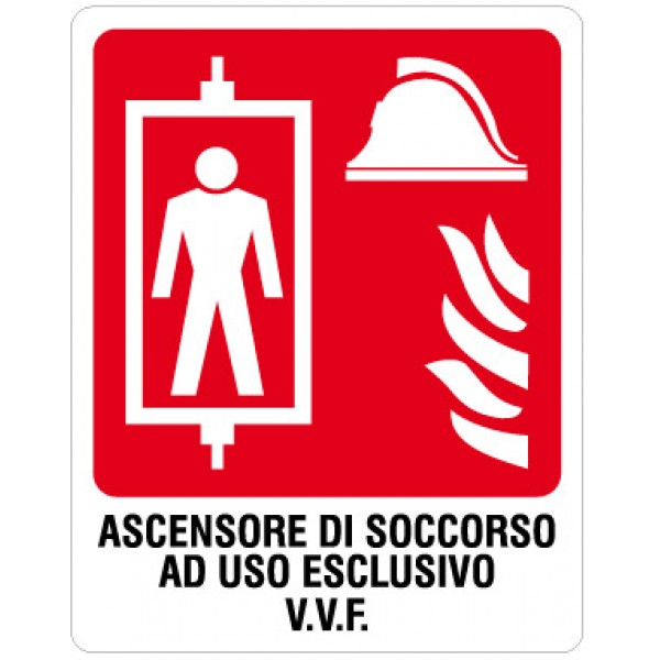 Cartello in alluminio formato mm 250x310 ascensore soccorso uso escluso v.v.f.
