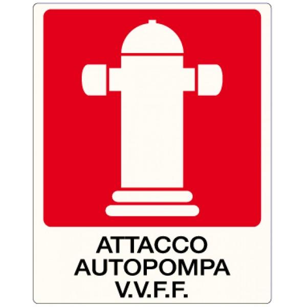 Cartello in alluminio formato mm 400x500 attacco autopompa v.v.f.f.