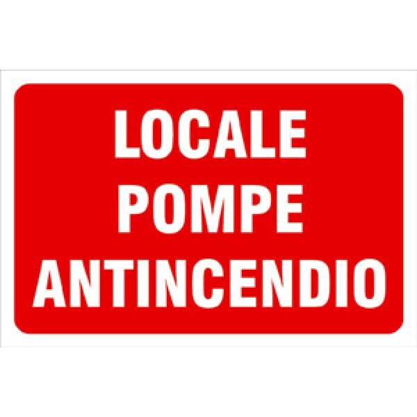 Cartello in alluminio formato mm 300x200 locale pompe antincendio