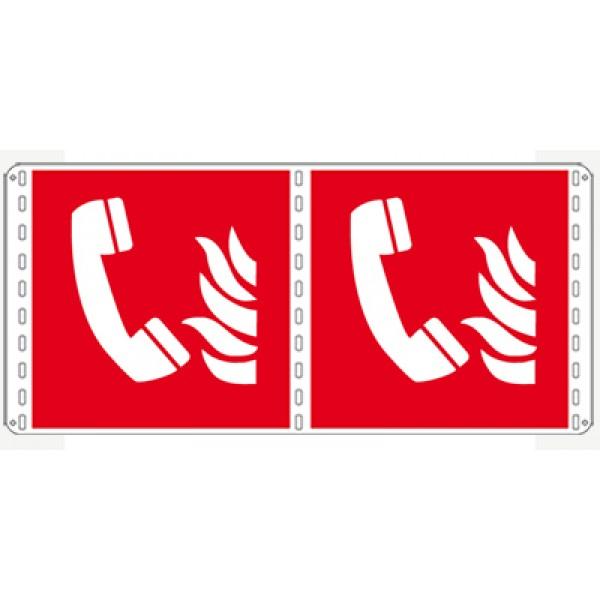 Cartello in alluminio lato mm 250 bifacciale pittogramma telefono emerg. incendio