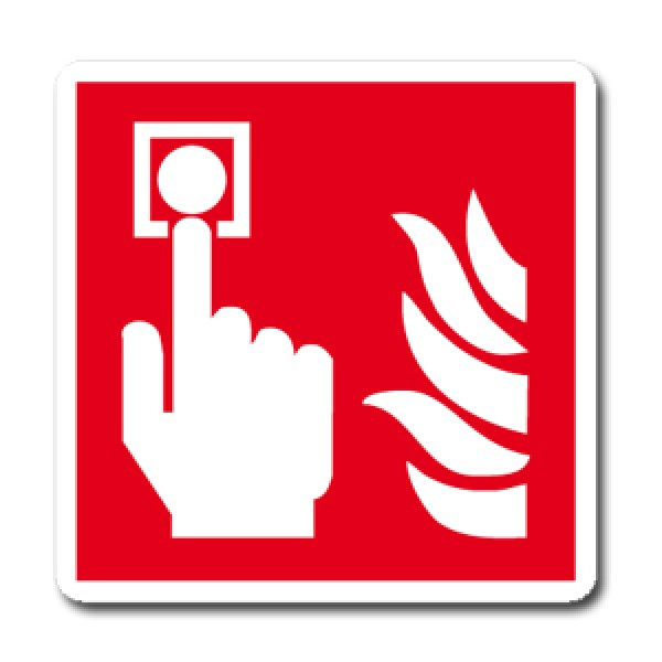 Cartello in alluminio lato mm 400 pittogramma pulsante allarme incendio