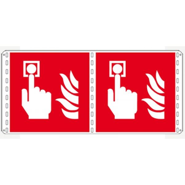 Cartello in alluminio lato mm 120 bifacciale pittogramma allarme incendio