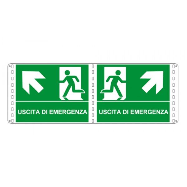 Cartello in alluminio formato mm 160x210 bifacciale uscita emergenza alto dx