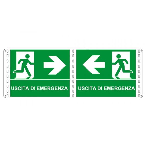 Cartello in alluminio formato mm 210x160 bifacciale uscita emergenza sinistra
