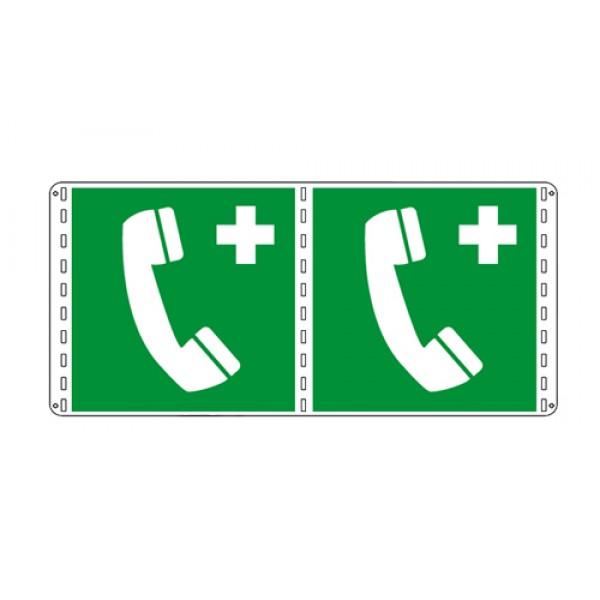 Cartello in alluminio formato mm 250x310 bifacciale telefono di emergenza