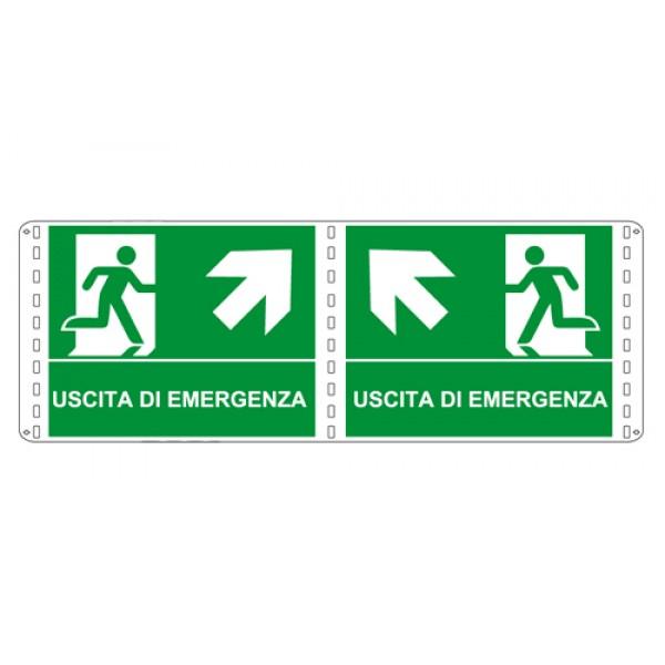 Cartello in alluminio formato mm 310x250 bifacciale uscita emergenza alto dx