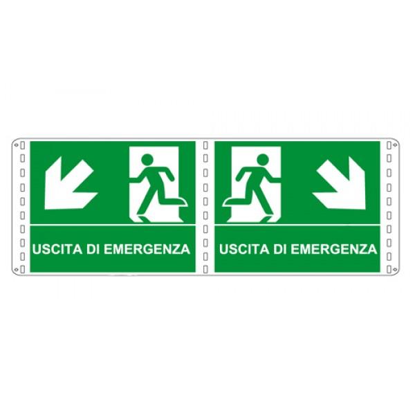 Cartello in alluminio formato mm 310x250 bifacciale uscita emergenza discesa dx