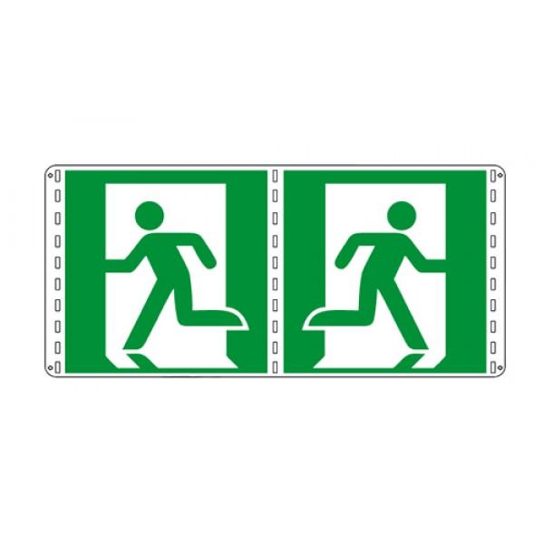 Cartello in alluminio lato mm 160 bifacciale pittogramma uscita emergenza dx