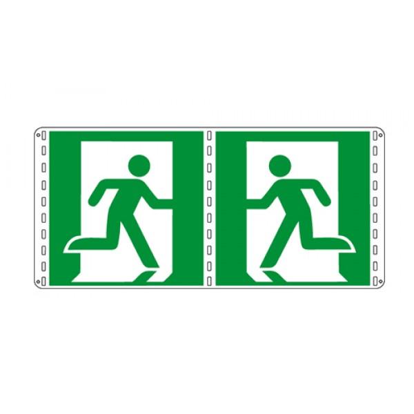 Cartello in alluminio lato mm 160 bifacciale pittogramma uscita emergenza sx